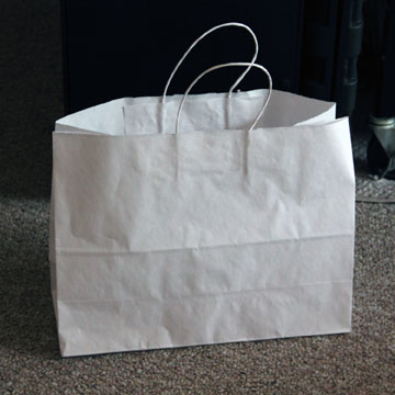 a plain white shopping bag