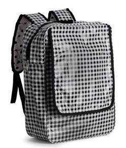 black and white gingham oilcloth backpack