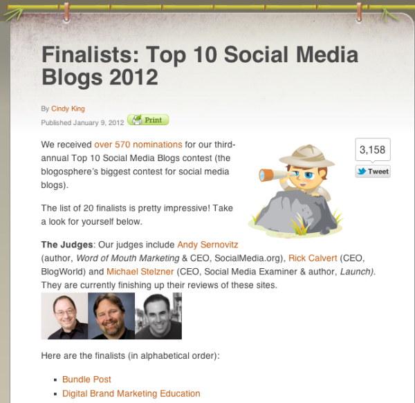 Social Media Examiner Blog Post Announcing the semi-finalists in their Top 10