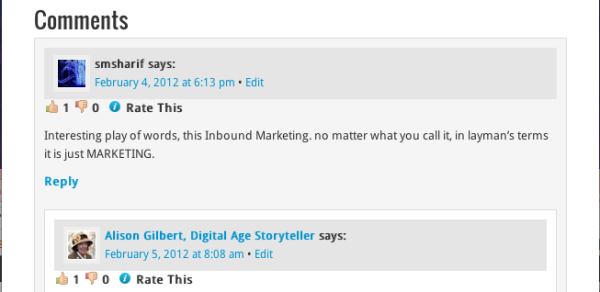 The comment box and replay area provided on a wordpress blog post