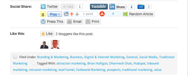 What Likes look like on a wordpress blog post