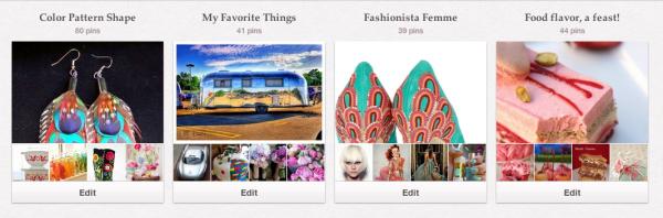 The top row of my 16 board Pinterest.com/AlisonsArt account.