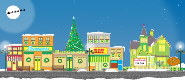 A local business Main Street Shopping Village at Holiday Time
